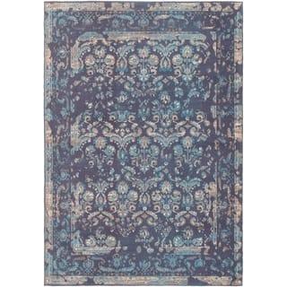 ECARPETGALLERY Handmade Collage Dark Blue Chenille Rug - 5'3 x 7'8