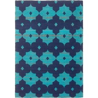 ECARPETGALLERY Handmade Collage Dark Blue, Turquoise Chenille Rug - 5'1 x 7'4
