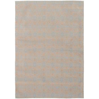 ECARPETGALLERY Handmade Collage Light Blue , Tan Chenille Rug - 4'9 x 6'9