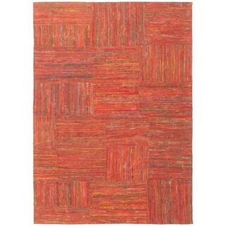 ECARPETGALLERY Handmade Collage Red Chenille Rug - 5'3 x 7'6