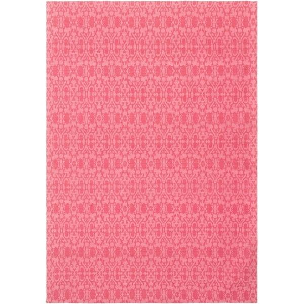 ECARPETGALLERY Handmade Collage Dark Pink Chenille Rug - 5'3 x 7'7