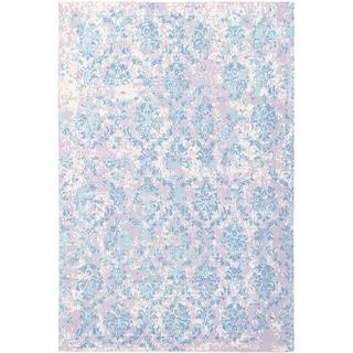 ECARPETGALLERY Handmade Collage Blue, Ivory Chenille Rug - 5'3 x 7'10