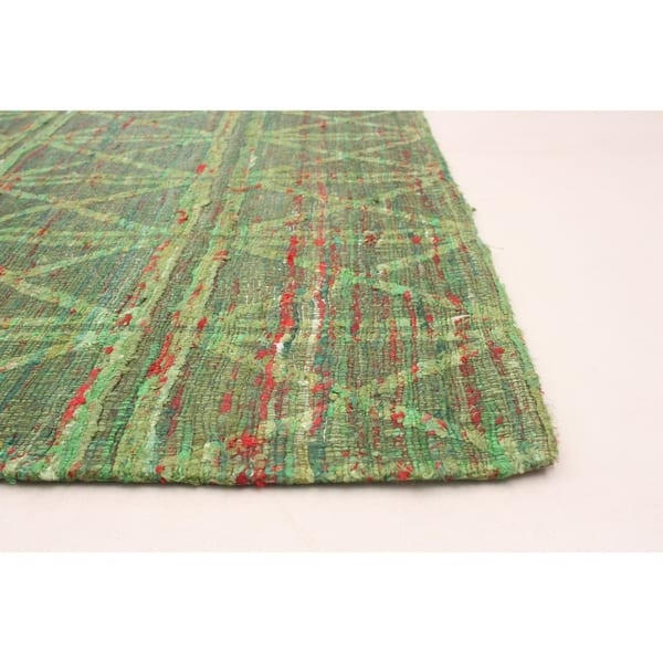 Collage Green Chenille Rug