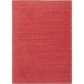 ECARPETGALLERY Handmade Collage Red Chenille Rug - 4'8 x 6'8