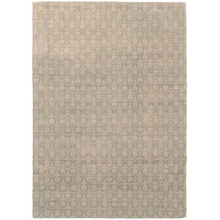 ECARPETGALLERY Handmade Collage Dark Grey, Light Grey Chenille Rug - 4'9 x 6'9