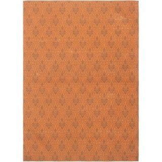 ECARPETGALLERY Handmade Collage Burnt Orange, Dark Grey Chenille Rug - 5'6 x 7'9