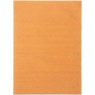 ECARPETGALLERY Handmade Collage Burnt Orange, Dark Green Chenille Rug - 4'9 x 6'8