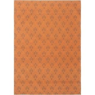 ECARPETGALLERY Handmade Collage Burnt Orange Chenille Rug - 5'5 x 7'9