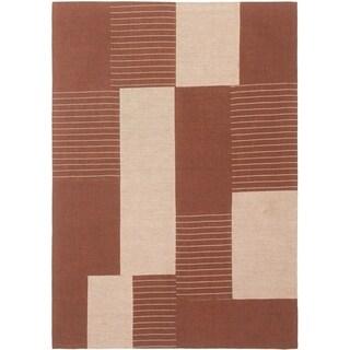 ECARPETGALLERY Handmade Collage Dark Brown Chenille Rug - 4'7 x 6'7