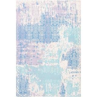 ECARPETGALLERY Handmade Collage Ivory, Light Blue  Chenille Rug - 5'3 x 7'10