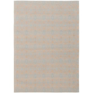 ECARPETGALLERY Handmade Collage Grey, Light Blue  Chenille Rug - 4'9 x 6'8