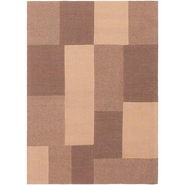 ECARPETGALLERY Handmade Collage Brown, Tan Chenille Rug - 4'6 x 6'6
