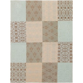 ECARPETGALLERY Handmade Collage Brown, Light Blue  Chenille Rug - 5'7 x 7'6
