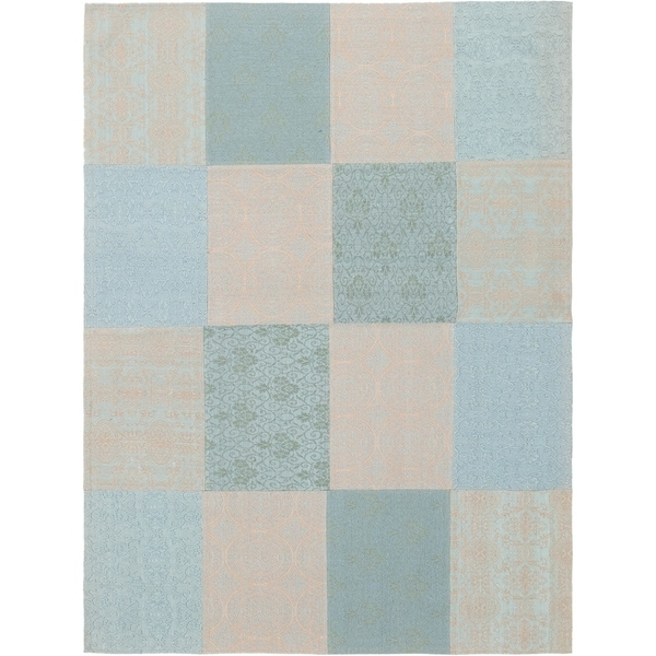 ECARPETGALLERY Handmade Collage Grey, Light Blue Chenille Rug - 5'8 x 7'7