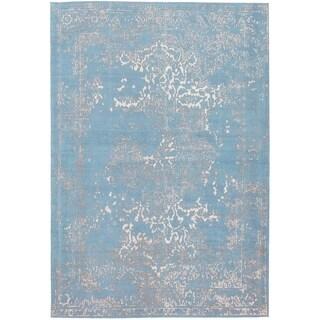 ECARPETGALLERY Handmade Collage Light Denim Blue Chenille Rug - 5'3 x 7'8