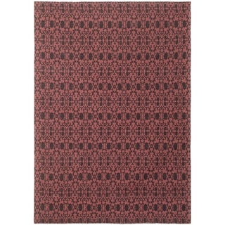 ECARPETGALLERY Handmade Collage Black, Dark Red Chenille Rug - 5'3 x 7'6
