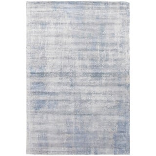 ECARPETGALLERY Handmade Collage Ivory, Light Blue Chenille Rug - 5'1 x 7'7