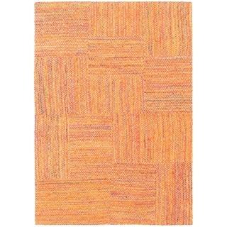 ECARPETGALLERY Handmade Collage Burnt Orange Chenille Rug - 4'7 x 6'6