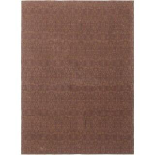 ECARPETGALLERY Handmade Collage Dark Brown, Indigo Chenille Rug - 4'9 x 6'8