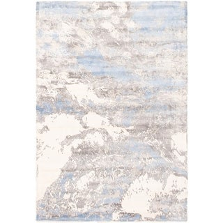 ECARPETGALLERY Handmade Collage Ivory, Light Blue Chenille Rug - 5'5 x 7'2