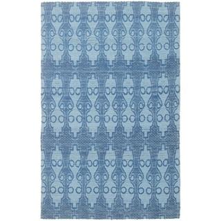 ECARPETGALLERY Handmade Collage Dark Blue, Light Blue  Chenille Rug - 5'0 x 7'11