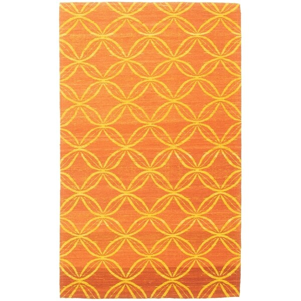 ECARPETGALLERY Handmade Collage Burnt Orange Chenille Rug - 4'11 x 8'0