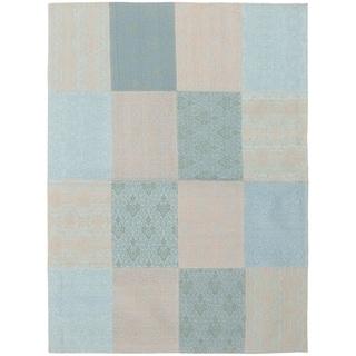 ECARPETGALLERY Handmade Collage Grey, Light Blue  Chenille Rug - 5'8 x 7'8