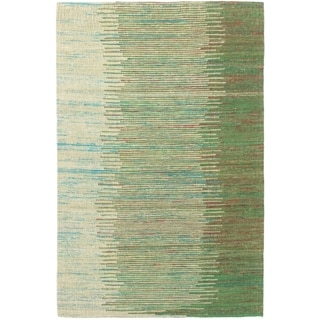 ECARPETGALLERY Handmade Collage Dark Green, Green Chenille Rug - 5'1 x 7'9