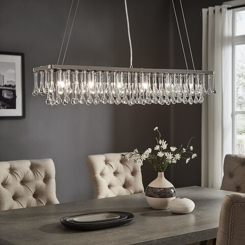 Taren II Chrome Finish 6-light Rectangular Drop Chandelier by iNSPIRE Q Modern