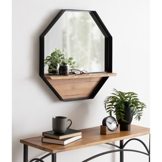 Kate and Laurel Owing Octagon Wall Shelf Mirror - Brown/Black - 24x24
