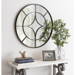 "Kate and Laurel Angelis Overlaid Round Wall Mirror - Black - 30"" Diameter"
