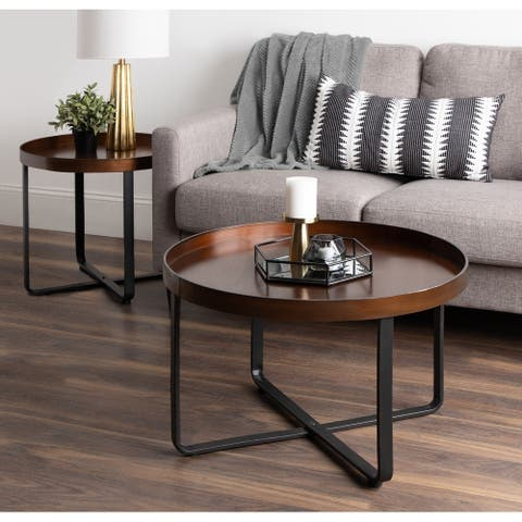 "Kate and Laurel Zabel Brown Metaland Wood 28-inch Round Modern Coffee Table - 28"" Diameter"