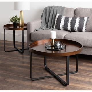 Kate and Laurel Zabel Brown Metaland Wood 28-inch Round Modern Coffee Table