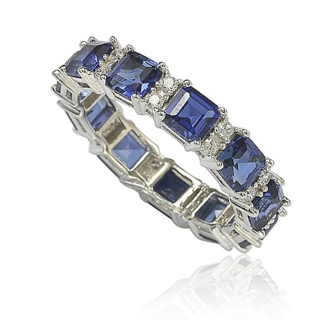 Suzy L. Sterling Silver Sapphire and Diamond Accent Eternity Band