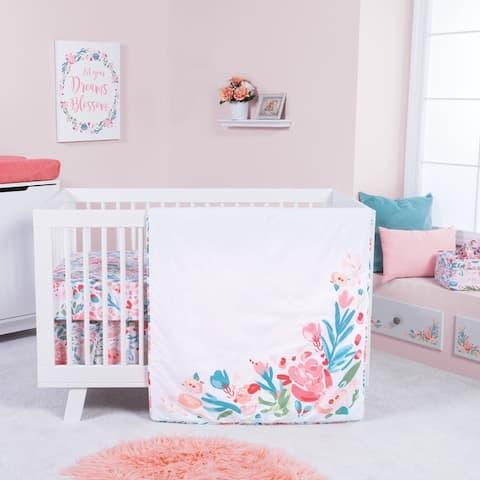 Painterly Floral 3 PC Crib Bedding Set
