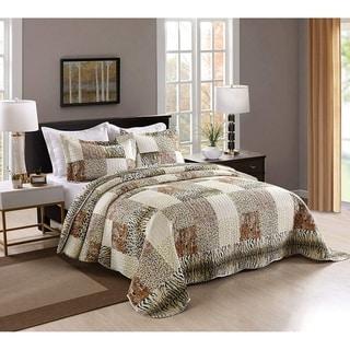 Link to Porch & Den Heckman Leopard Print 3-piece Quilt Coverlet Set Similar Items in Comforter Sets