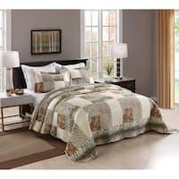 3 Pcs Leopard Print Quilt Set Bedding Coverlet