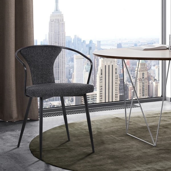 Francis Contemporary Dining Chair in Black Powder Coated Finish and Black Fabric. Opens flyout.