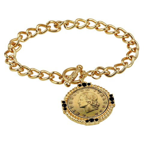 Italian 20 Lira Coin Toggle Bracelet