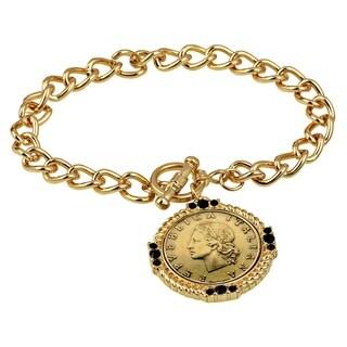 Italian 20 Lira Coin Toggle Bracelet