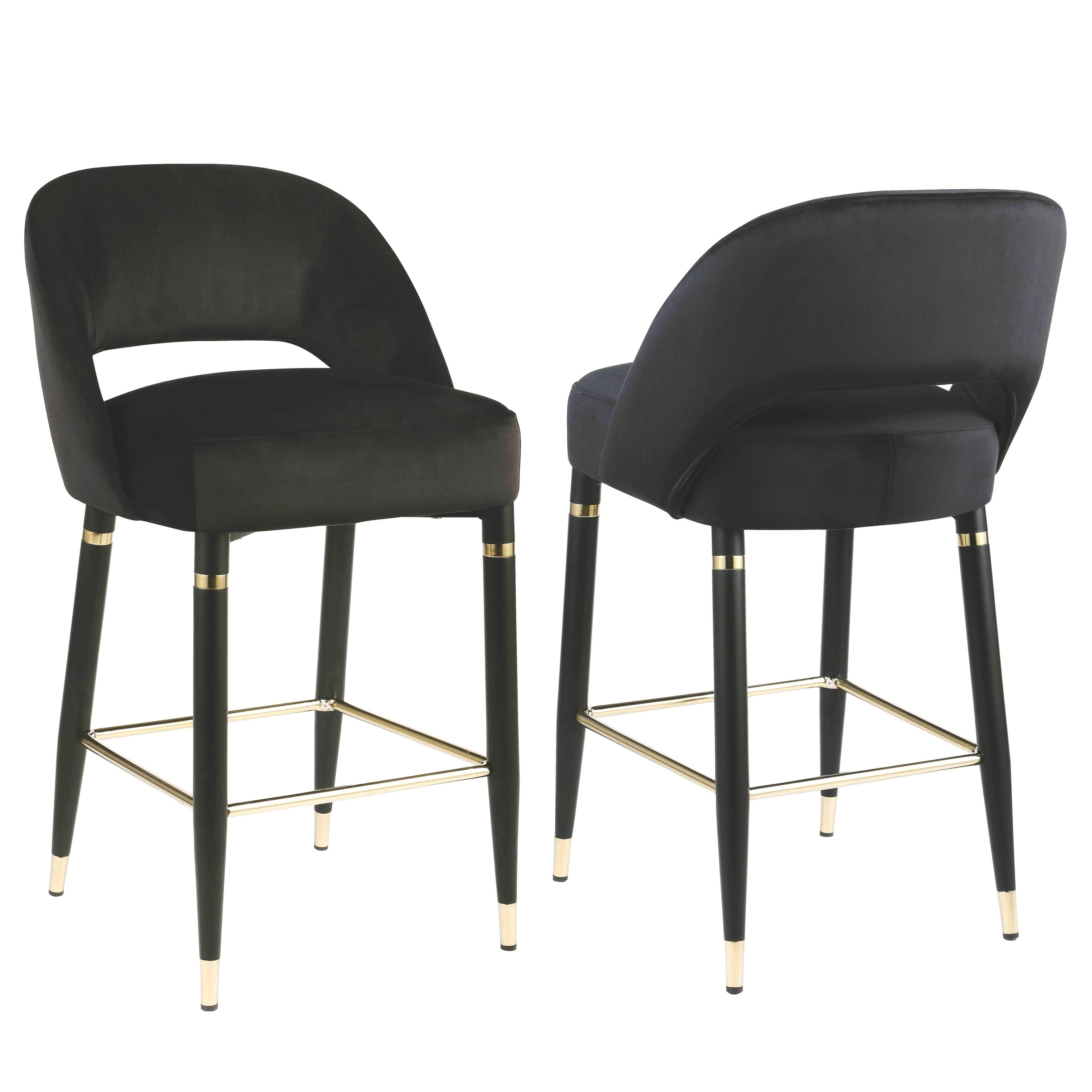 Super Modern Glamorous Design Black Velvet Counter Height Dining Stools Set Of 2 Gmtry Best Dining Table And Chair Ideas Images Gmtryco