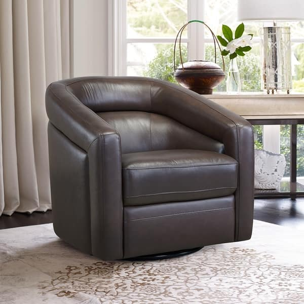 Wondrous Shop Desi Contemporary Genuine Leather Swivel Accent Chair Ncnpc Chair Design For Home Ncnpcorg