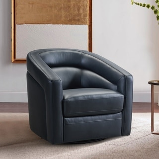 Desi Contemporary Genuine Leather Swivel Accent Chair