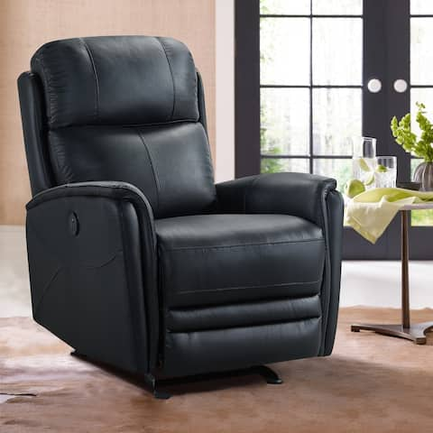 Wolfe Contemporary Top Grain Leather Power Recliner Chair with USB