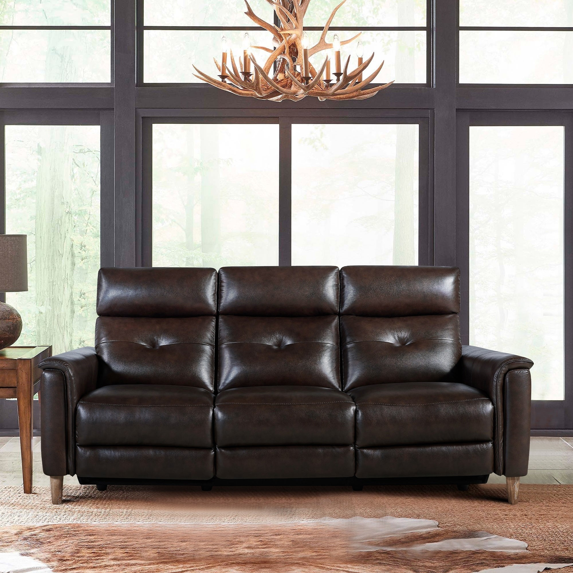 Gala Contemporary Top Grain Leather Power Recliner Sofa With Usb