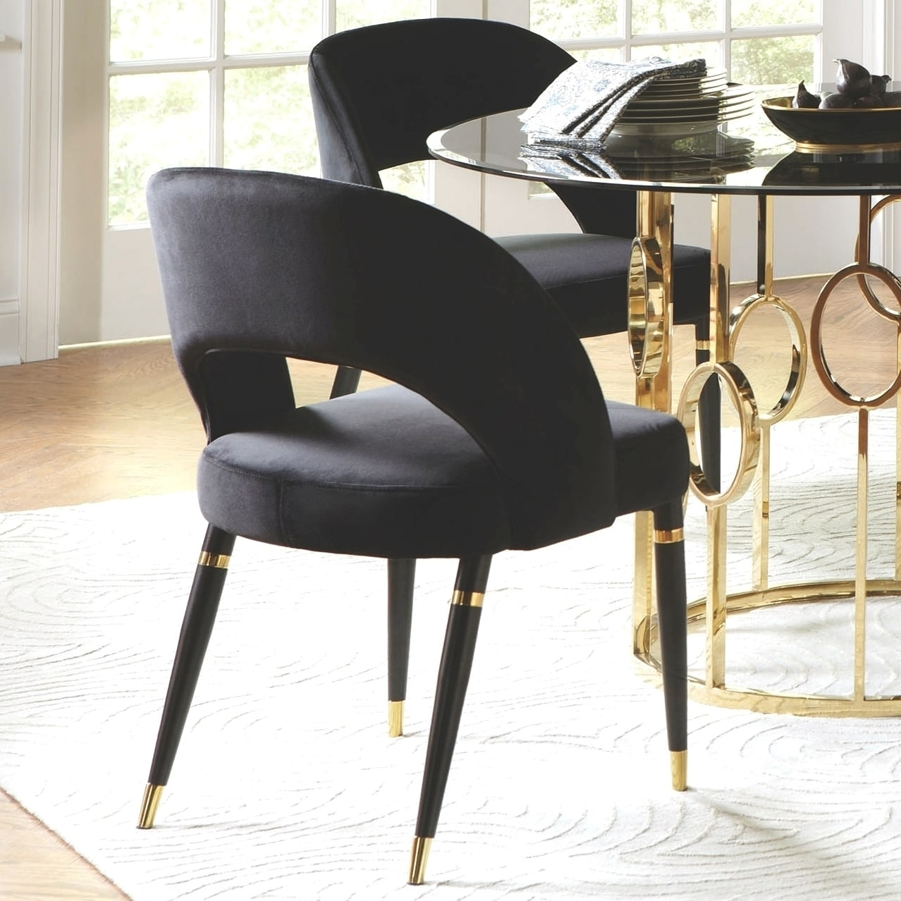 Picture of: Modern Glamorous Design Black Velvet Dining Chairs Set Of 2 Overstock 28228278