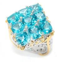 Michael Valitutti Palladium Silver Paraiba Color Topaz Diamond Shaped Cluster Ring