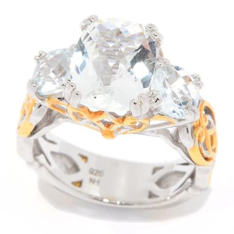 Michael Valitutti Palladium Silver Goshenite 3-Stone Cushion Ring