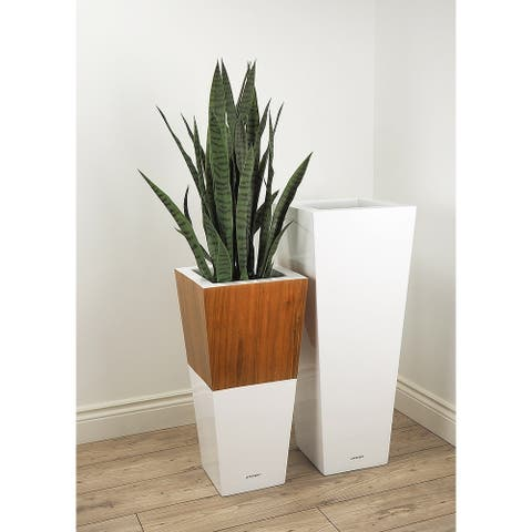 Lepresent Lux Natura 28-inch Fiberglass and Wood Pot Planter