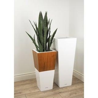 Lepresent Lux Natura 28-inch Fiberglass and Wood Pot Planter